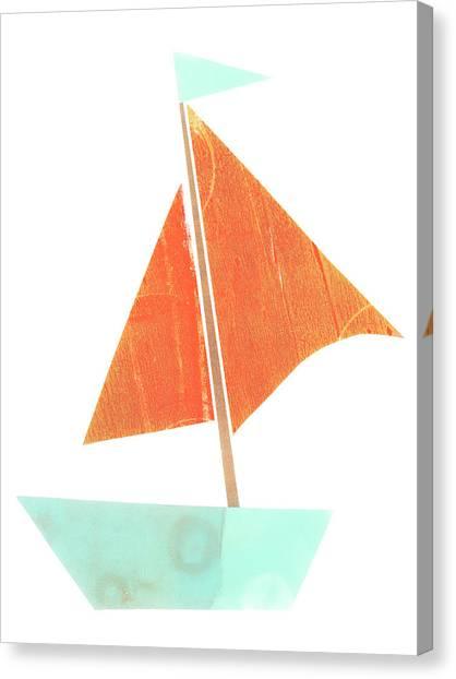 Simple Canvas Print - Cute Collage Sailboat 508 by Carol Leigh