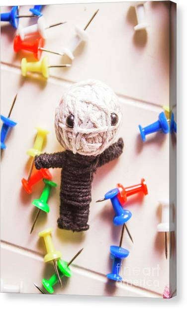 Supplies Canvas Print - Cute Doll Made From Yarn Surrounded By Pins by Jorgo Photography - Wall Art Gallery
