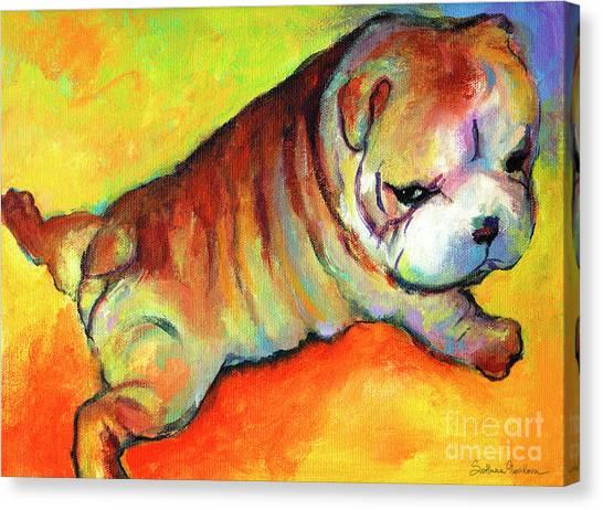 Merchandise Canvas Print - Cute English Bulldog Puppy Dog Painting by Svetlana Novikova
