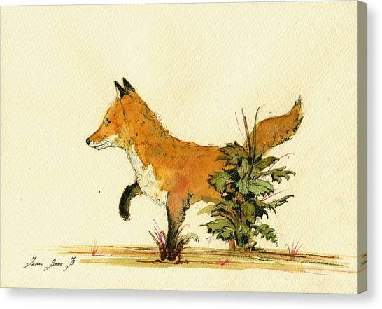 Small Mammals Canvas Print - Cute Fox In The Forest by Juan  Bosco
