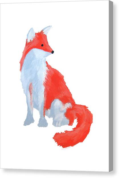 Cute Fox With Fluffy Tail Canvas Print