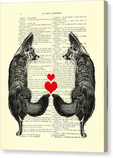 Wedding Gift Canvas Print - Cute Foxes by Madame Memento