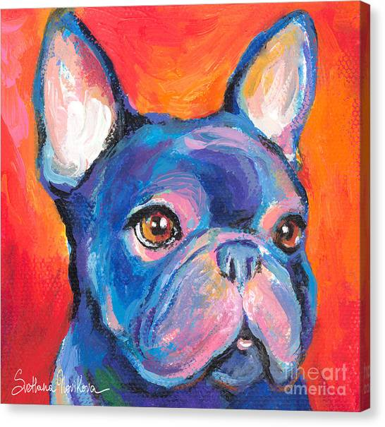 Puppies Canvas Print - Cute French Bulldog Painting Prints by Svetlana Novikova