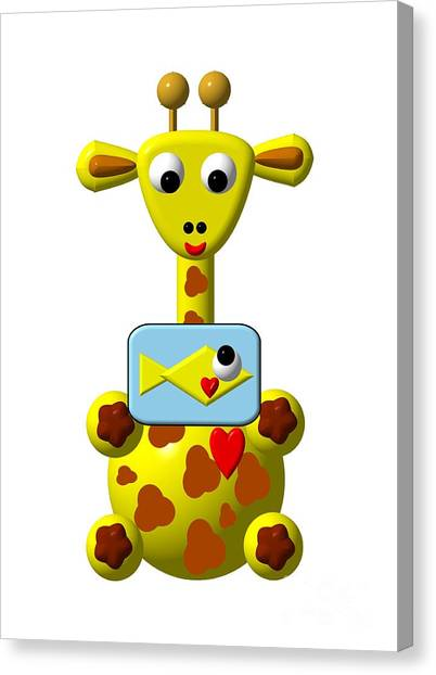 Canvas Print featuring the digital art Cute Giraffe With Goldfish by Rose Santuci-Sofranko