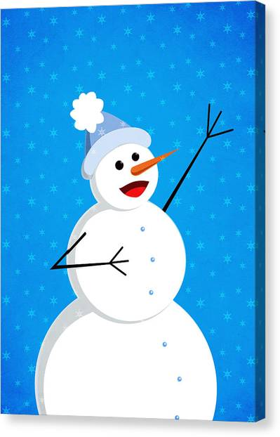 Cute Happy Snowman Canvas Print