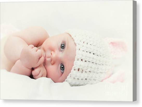 Cute Newborn Portrait Canvas Print by Gualtiero Boffi