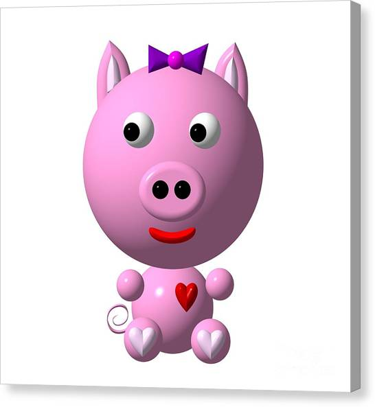 Canvas Print featuring the digital art Cute Pink Pig With Purple Bow by Rose Santuci-Sofranko