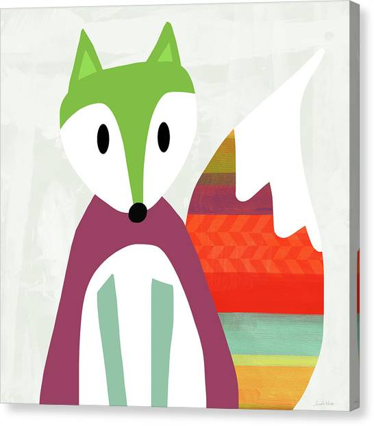 Woodland Canvas Print - Cute Purple And Green Fox- Art By Linda Woods by Linda Woods