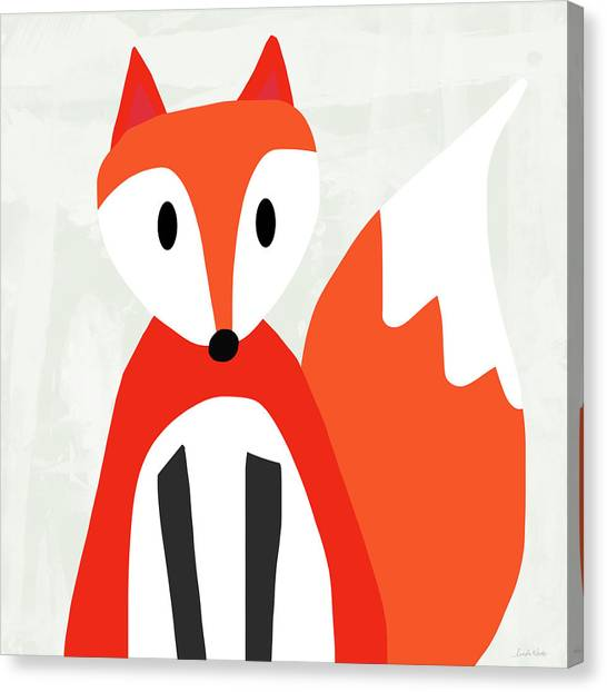 Bedroom Canvas Print - Cute Red And White Fox- Art By Linda Woods by Linda Woods