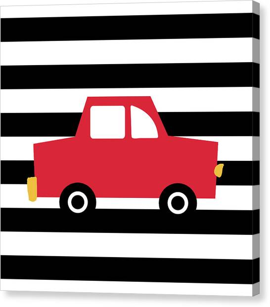 Driving Canvas Print - Cute Red Car- Art By Linda Woods by Linda Woods