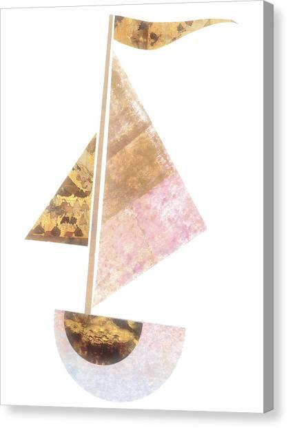 Simple Canvas Print - Cute Sailboat Collage 502 by Carol Leigh