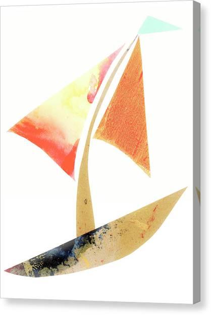 Simple Canvas Print - Cute Sailboat Collage 517 by Carol Leigh
