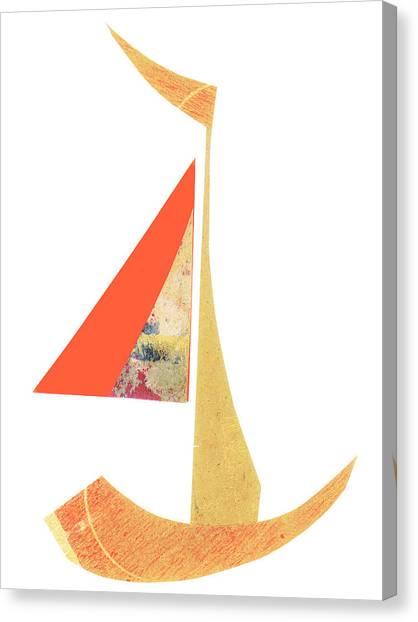 Simple Canvas Print - Cute Sailboat Collage 518 by Carol Leigh