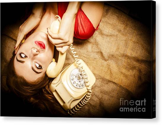 Thoughful Canvas Print - Cute Vintage Pin Up Girl Making Telephone Call by Jorgo Photography - Wall Art Gallery