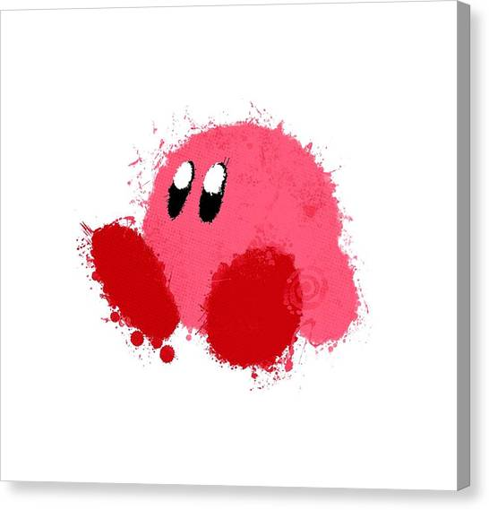 Gameboy Canvas Print - Cutest Ever Kirby by Diana Ratu