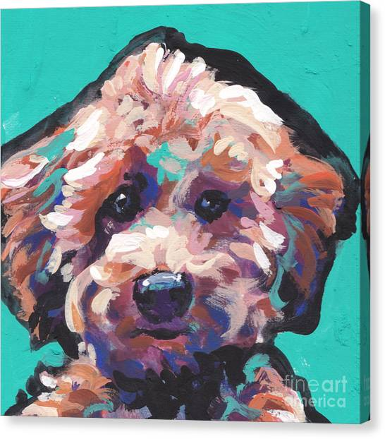 Poodles Canvas Print - Cutey Poo by Lea S