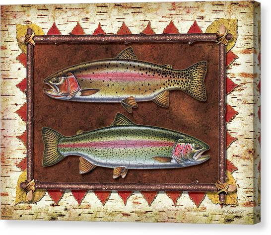 Fly Fishing Canvas Print - Cutthroat And Rainbow Trout Lodge by JQ Licensing