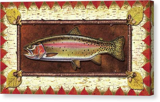 Fly Fishing Canvas Print - Cutthroat Trout Lodge by JQ Licensing