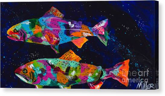 Splashy Art Canvas Print - Cutthroats by Tracy Miller