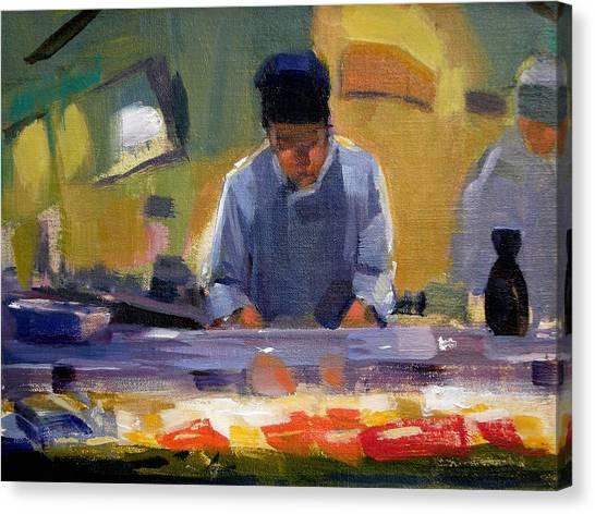 Cutting Sushi Canvas Print by Merle Keller