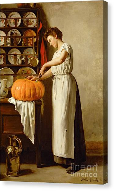 Thanksgiving Canvas Print - Cutting The Pumpkin by Franck-Antoine Bail