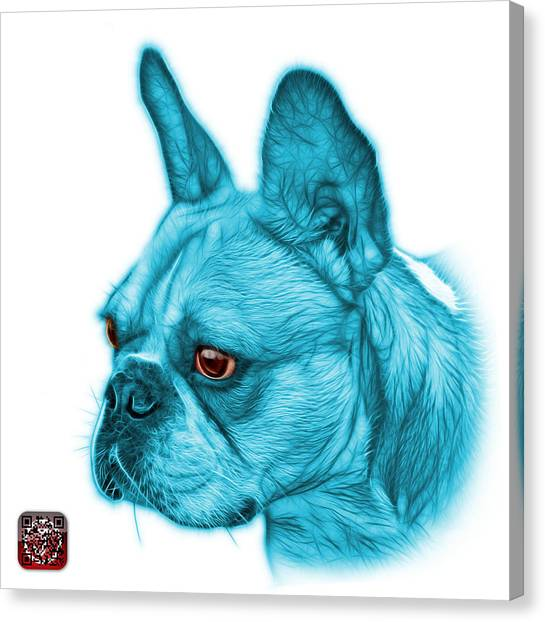 Cyan French Bulldog Pop Art - 0755 Wb Canvas Print