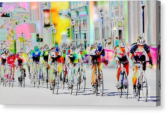 Nm Canvas Print - Cycling Down Main Street Usa by Vicki Pelham