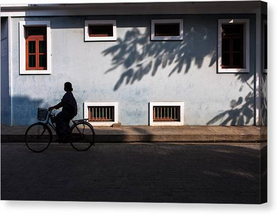 Cycling Silhouette Canvas Print