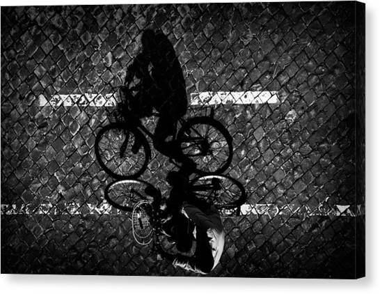 Street Canvas Print - Cycling With Dad... by Antonio Grambone