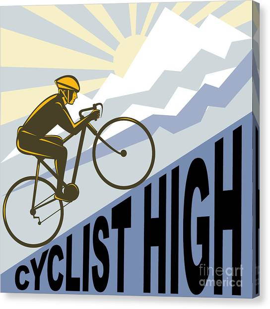 Mountain View Canvas Print - Cyclist Racing Bike by Aloysius Patrimonio