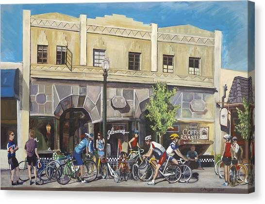 Cyclists At The Roasters Canvas Print by Colleen Proppe
