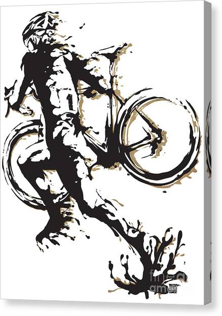 Canvas Print featuring the painting Cyclocross Poster1 by Sassan Filsoof