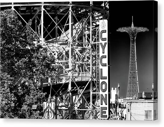 Cyclones Canvas Print - Cyclone At Coney Island by John Rizzuto