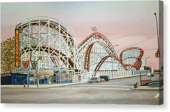 Cyclone Rollercoaster In Coney Island New York Canvas Print