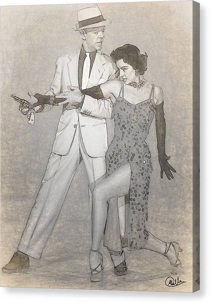 Charisse Canvas Print - Cyd Charisse - Fred Astaire Drawn by Quim Abella
