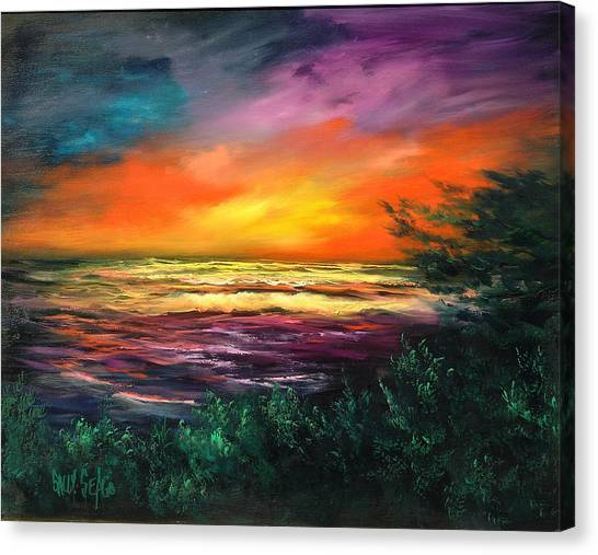 Cypress Sunset Canvas Print by Sally Seago