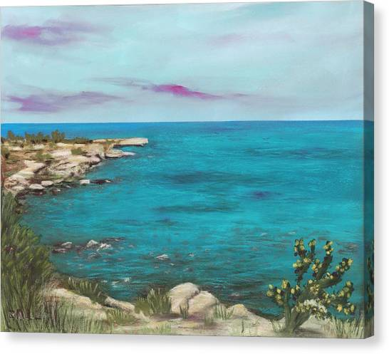 Canvas Print featuring the painting Cyprus - Protaras by Anastasiya Malakhova