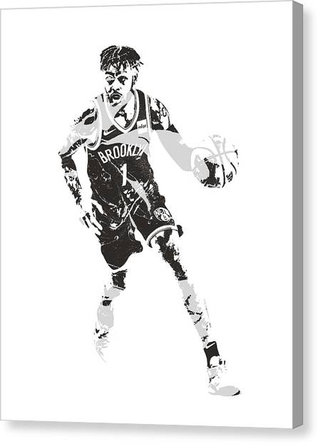 Brooklyn Nets Canvas Print - D Angelo Russell Brooklyn Nets Pixel Art 10 by Joe Hamilton