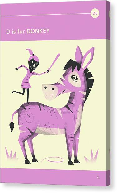 Donkeys Canvas Print - D Is For Donkey by Jazzberry Blue