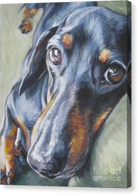 Dachshunds Canvas Print - Dachshund Black And Tan by Lee Ann Shepard