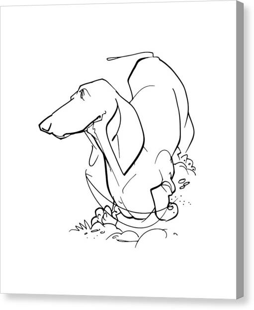 Hot Dogs Canvas Print - Dachshund Gesture Sketch by John LaFree