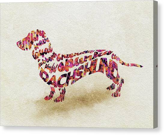Watercolor Pet Portraits Canvas Print - Dachshund / Sausage Dog Watercolor Painting / Typographic Art by Inspirowl Design