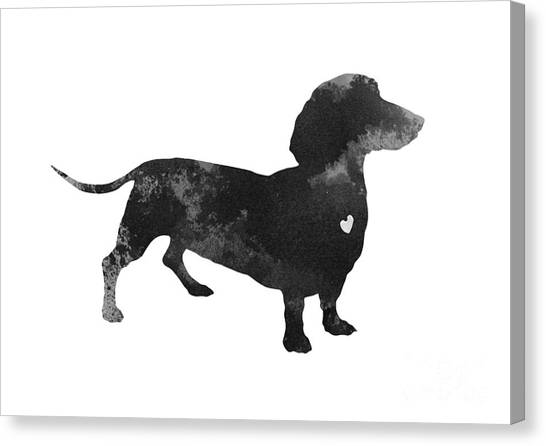 Dachshunds Canvas Print - Dachshund Watercolor Black Silhouette by Joanna Szmerdt