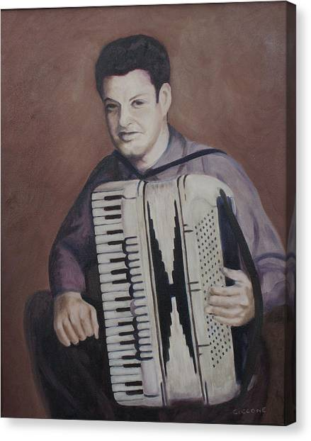 Daddy And His Accordion Canvas Print