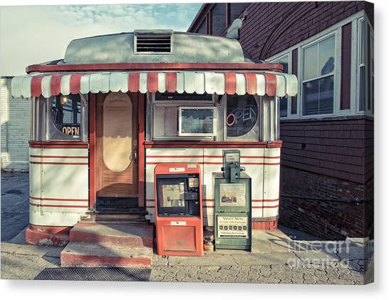 New Hampshire Canvas Print - Daddypops Tumble Inn Diner Claremont New Hampshire by Edward Fielding