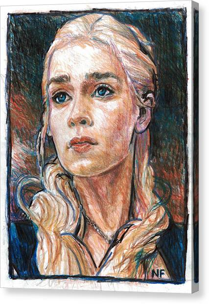 Prisma Colored Pencil Canvas Print - Daenerys Targaryen - Mother Of Dragons by Neil Feigeles