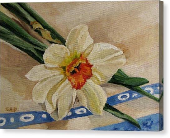 Daffodil Reclining Canvas Print by Cheryl Pass