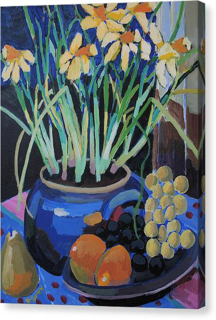 Daffodills And Fruit Canvas Print