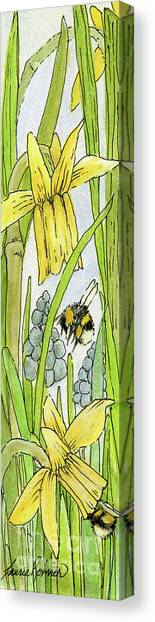Daffodils And Bees Canvas Print