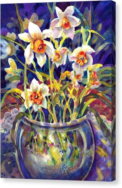 Daffodils And Lace Canvas Print